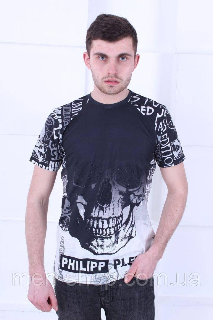 Высококачественная черная футболка в стиле  Philipp Plein