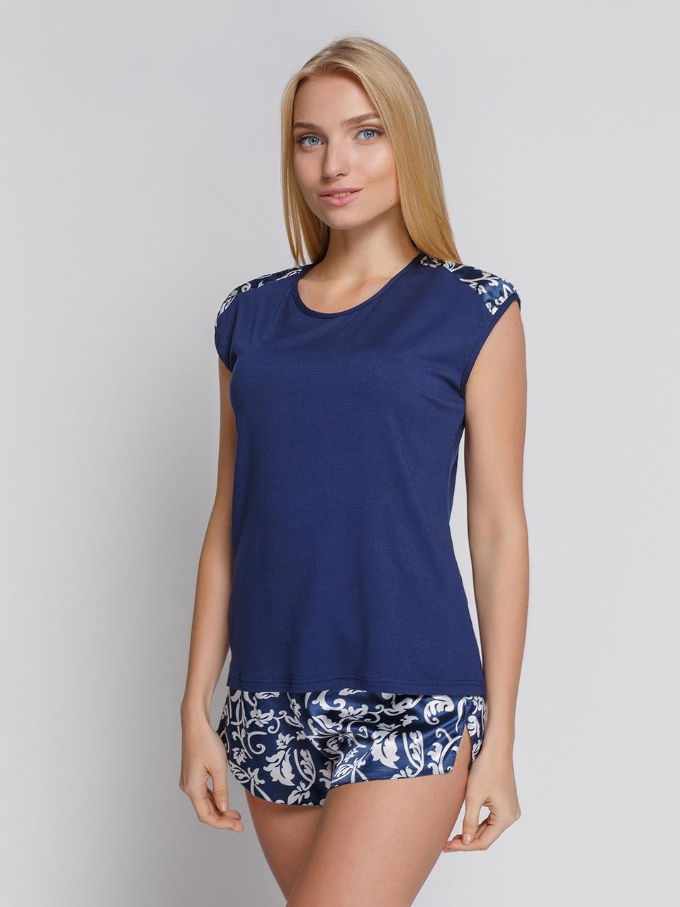 Пижама с шортами вискоза c атласом Serenade синий с шампанью