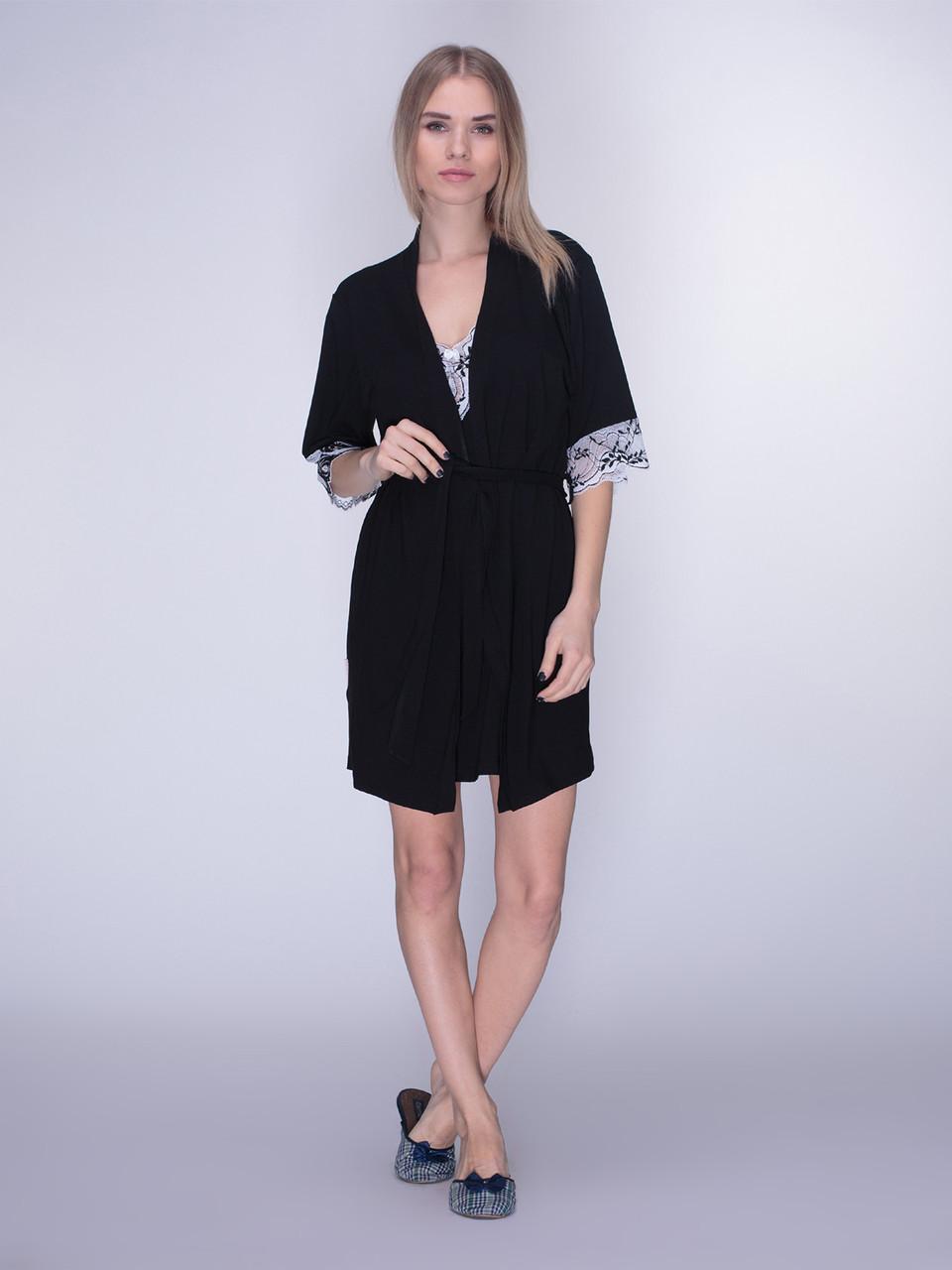 Комплект сорочка и халат вискоза с кружевом Serenade чёрный