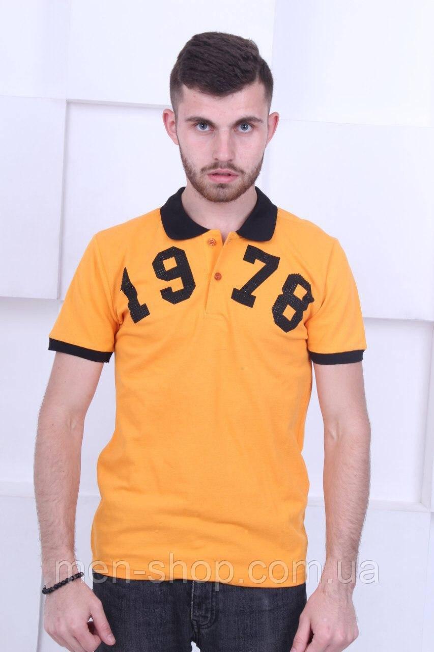 Оранжевая футболка поло в стиле  Philipp Plein 1978