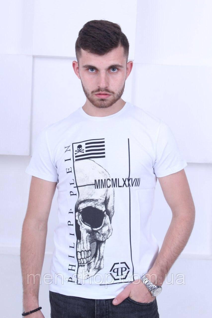 Белая мужская футболка в стиле  Philipp Plein