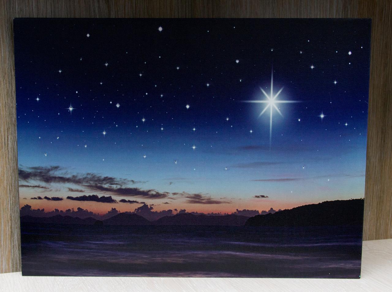Светящаяся картина звездное небо и светящаяся полярная звезда, 30х40 см (940232)