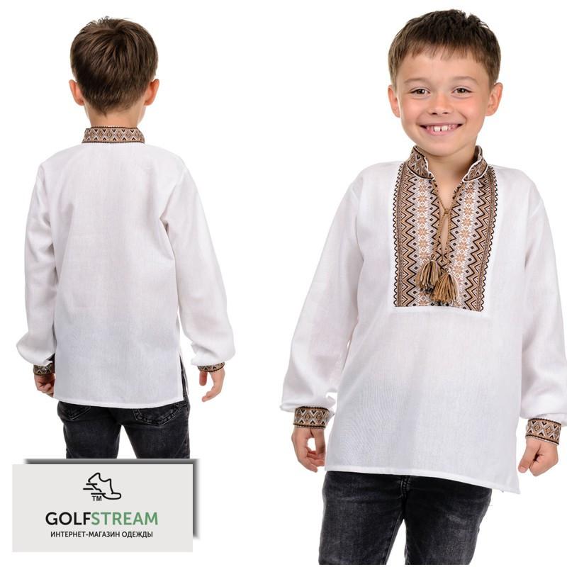 """Современная рубашка """"Вышиванка"""" для мальчика (беж)"""