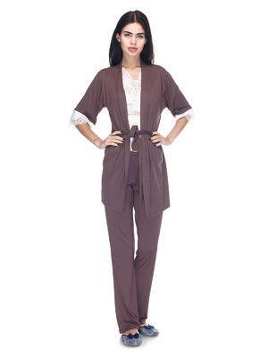 Комплект пижама с штанами и халат, вискоза с кружевом Serenade какао