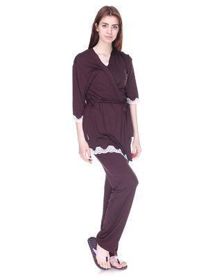 Комплект пижама с штанами и халат, вискоза с кружевом Serenade шоколад