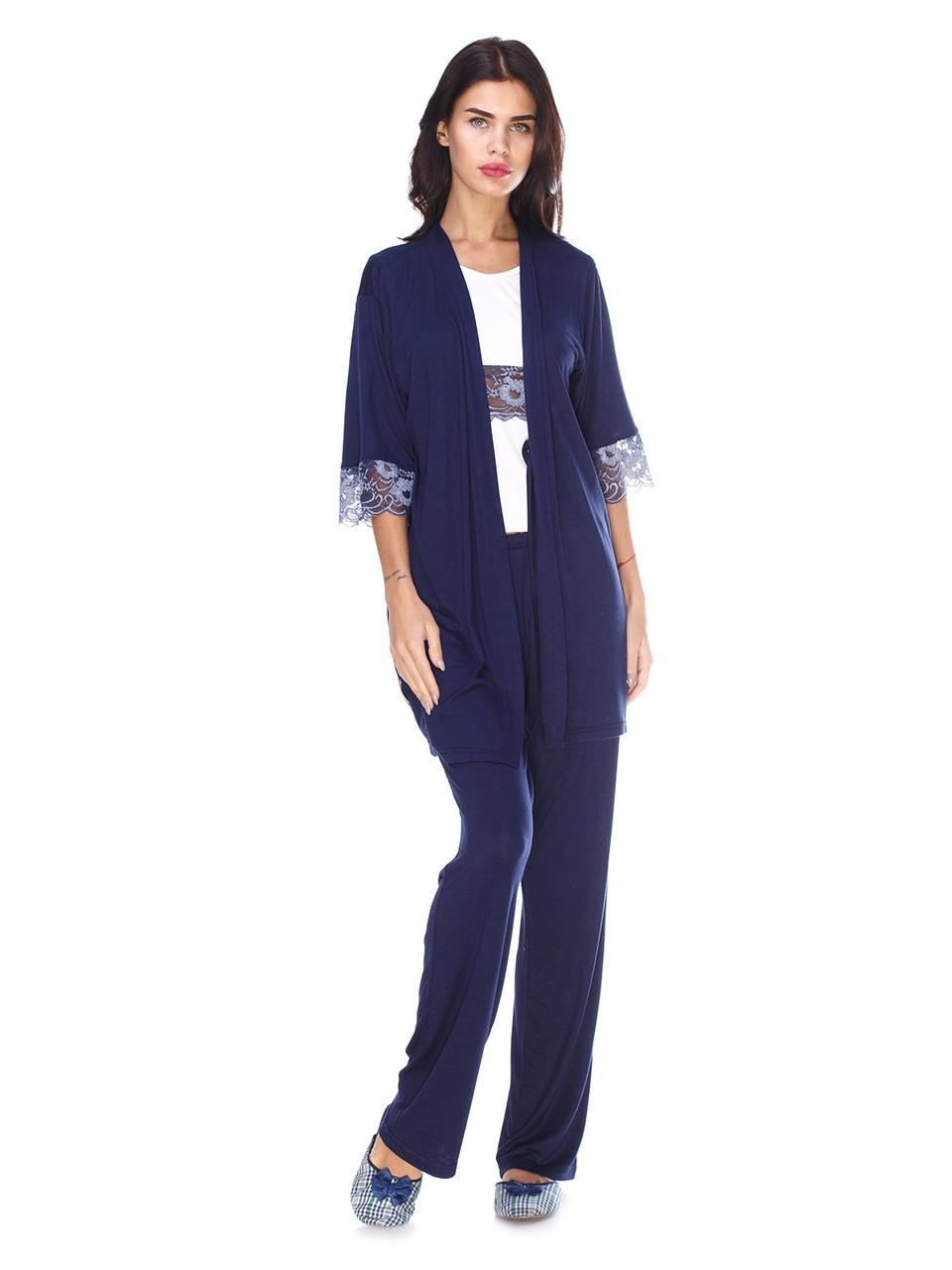 Комплект пижама с штанами и халат, вискоза с кружевом Serenade синий