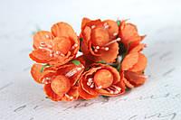 Декоративные цветы вишни 6 шт. диаметр 2,5 см, оранжевого цвета