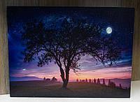 Светящаяся картина ночное небо со светящейся полной луной, 30х40 см (940225)