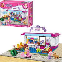Конструктор типа лего френдс для девочки Розовая мечта 226 деталей - дом - кафе, фигурки, Sluban 0528