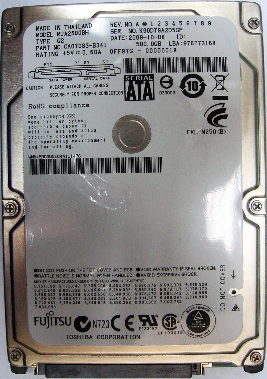 Жесткий диск HDD 500GB 5400rpm 8MB SATA II 2.5 Fujitsu MJA2500BH K90DT9A2D5SP