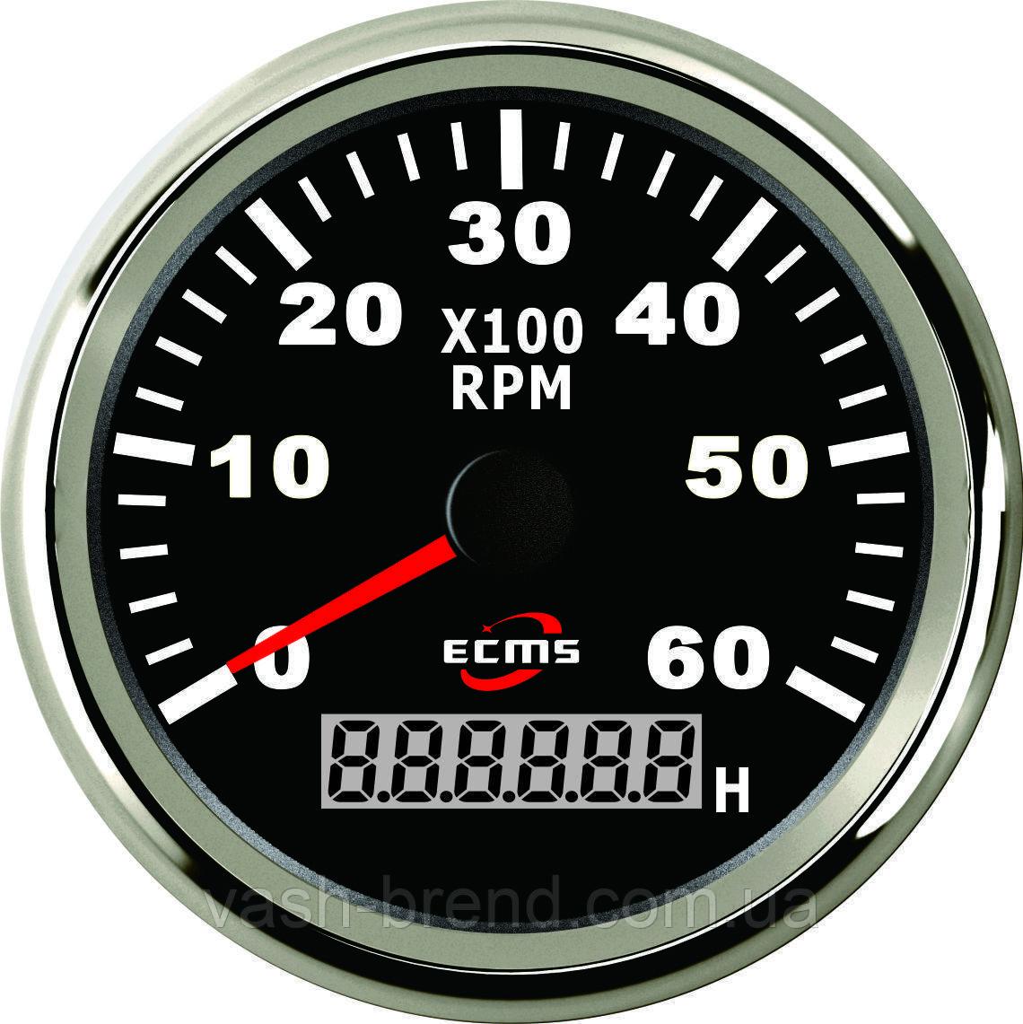 Тахометр з лічильником мотогодин ecms (чорний)