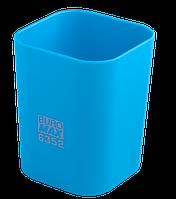 Стакан пластиковий Buromax RUBBER TOUCH квадратный, 70х70х90мм, блакитний (BM.6352-14)