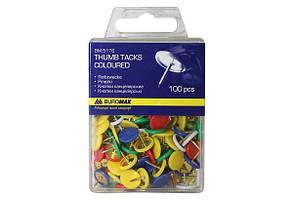Кнопки кольорові BUROMAX 100 шт., пласт. покр., пласт. контейнер