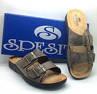 Мужские коричневые ортопедические кожаные шлепанцы SPESITA  | обувь со стелькой vera pelle | размеры 41-46