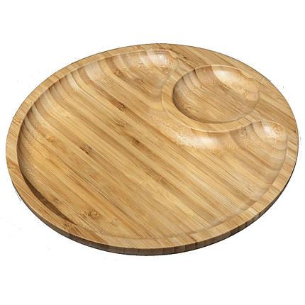 Доска сервировочная двухсекционная Wilmax Bamboo круглая 35,5 см (WL-771045), фото 2