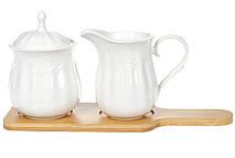 Набор Naturel: молочник 250мл и сахарница 350мл на бамбуковой подставке, 28см