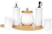 Набор для специй на бамбуковой подставке Naturel: емкости для масла и уксуса 150мл, сахарница 300мл, солонка и перечница, 28.5см