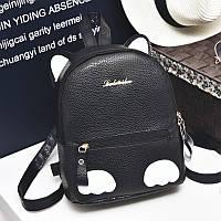 Черный рюкзак с белыми ушками, Рюкзаки женские, Черный рюкзак с белыми ушками