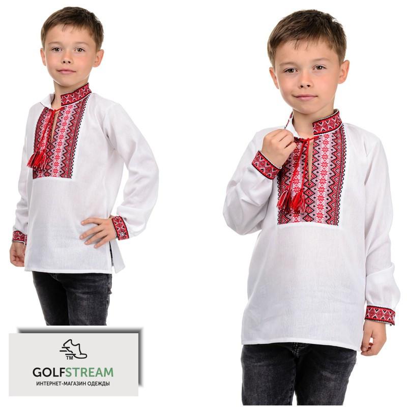 """Современная рубашка """"Вышиванка"""" для мальчика (красная)"""