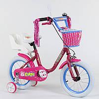 """Двухколесный детский велосипед МАЛИНОВЫЙ, ручной тормоз, корзинка, сидение для куклы Corso 14"""" деткам 4-5 лет"""