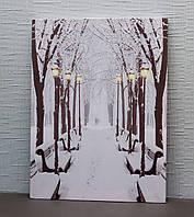 Светящаяся картина зимний парк с заснеженными лавочками и светящимися уличными фонарями, 30х40 см (940171)