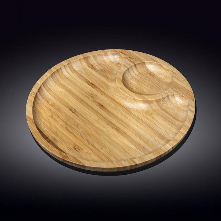 Доска сервировочная двухсекционная Wilmax Bamboo круглая 35,5 см (WL-771045)