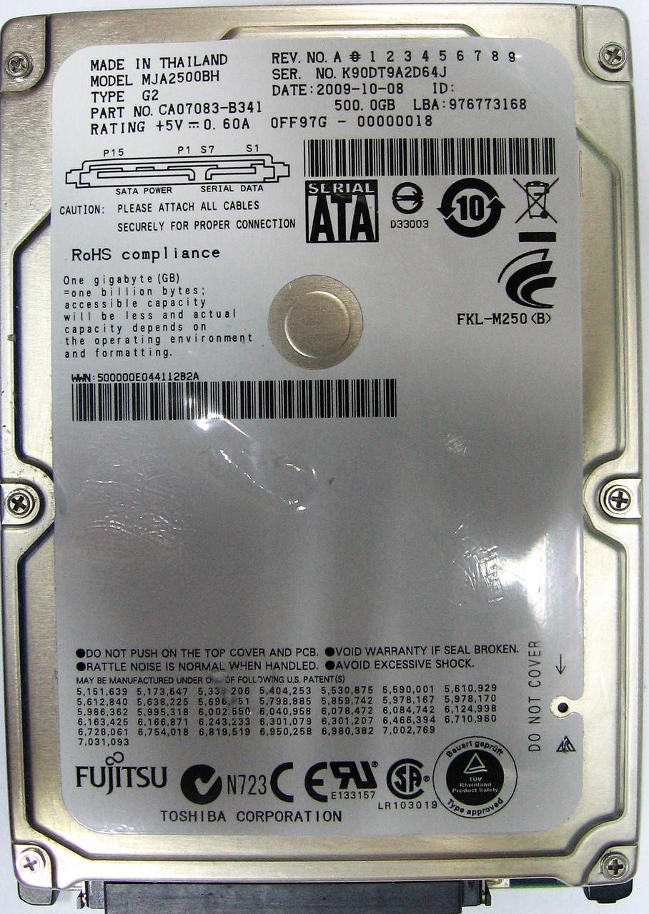 Жесткий диск HDD 500GB 5400rpm 8MB SATA II 2.5 Fujitsu MJA2500BH K90DT9A2D64J