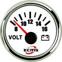 Вольтметр Ecms 52мм белый