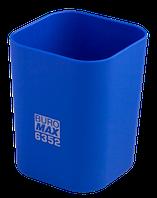 Стакан пластиковий Buromax RUBBER TOUCH квадратный, 70х70х90мм, синій (BM.6352-02)