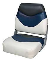 Сиденье складное премиум, низкая спинка  бело/сине/угольное