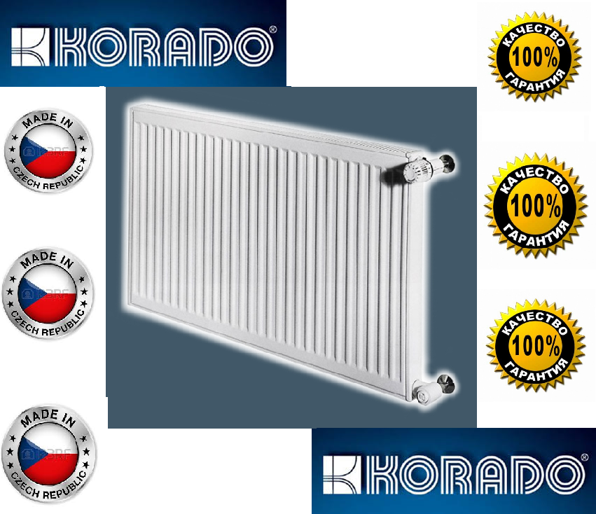 Стальной Радиатор отопления (батарея) 500x900 тип 22 Korado Radik (боковое подключение)