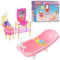 Мебель для кукол Gloria (ванная комната, ванна, умывальник, этажерка, аксессуары), 2913
