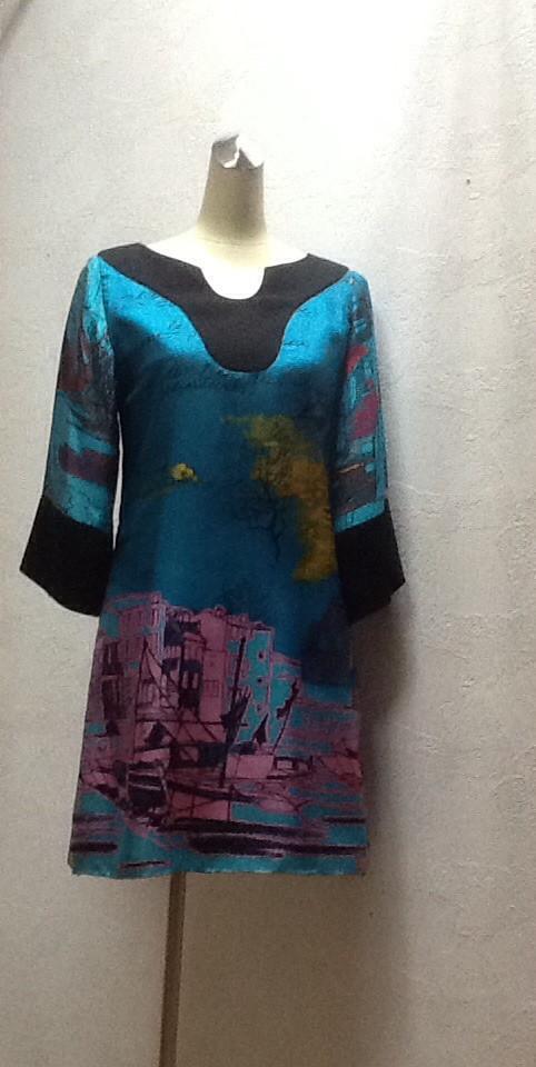 Платье бирюзовое с рукавом клеш Karen Millen