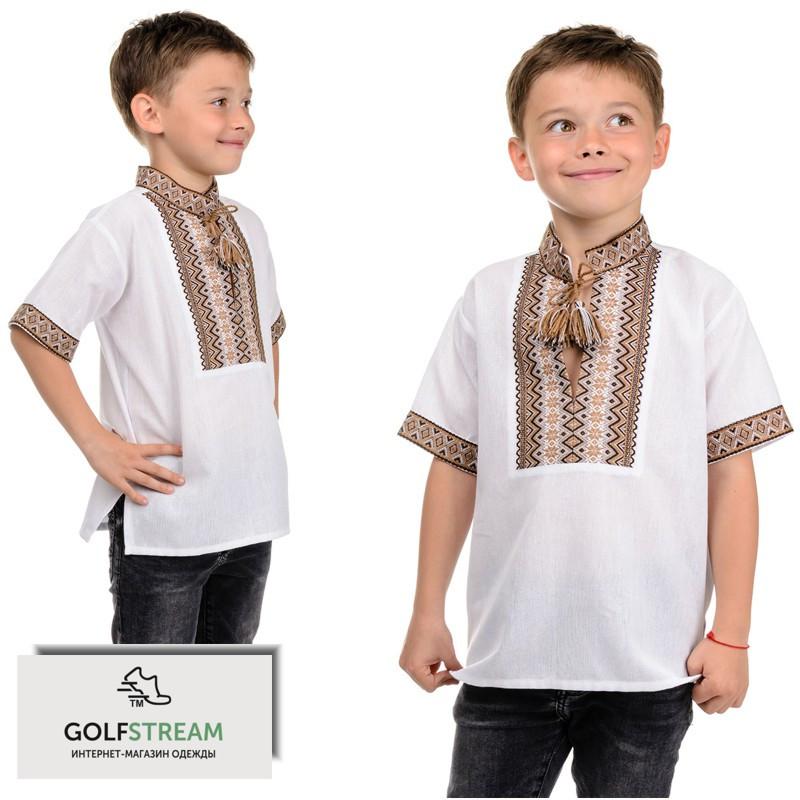 "Летняя рубашка ""Вышиванка"" для мальчика (беж)"