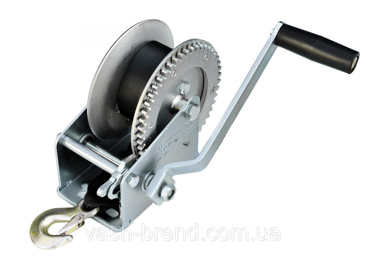 Лебедка для прицепа с лентой и крюком 1400lbs оцинкованная