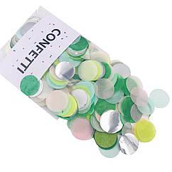 Конфетти кружочки для воздушных шаров 12 г лайм микс с серебром