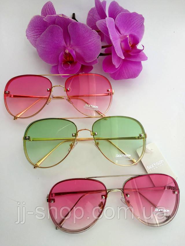 Солнцезащитные очки женские розовые прозрачные