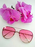 Солнцезащитные имиджевые очки капельки авиаторы розовые прозрачные (043), фото 1