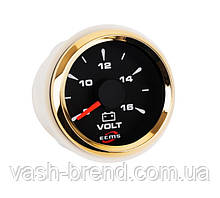 Вольтметр ECMS HMV2-BG-8-16 диаметр 52мм, рамка — золото, дисплей — черный 802-00043