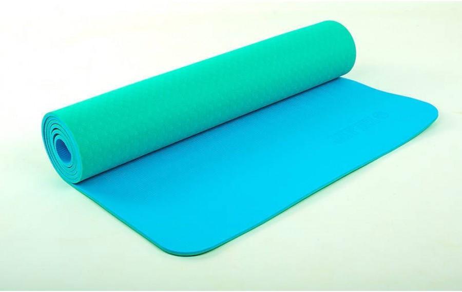 Коврик для фитнеса Yoga mat 2-х слойный мятный-голубой TPE+TC 6 мм