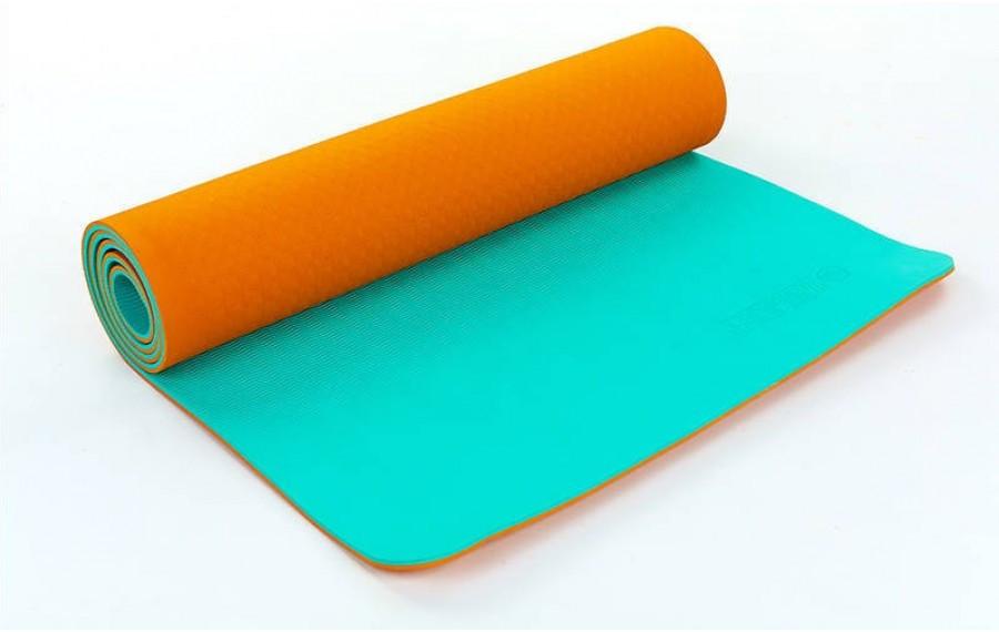 Коврик для фитнеса Yoga mat 2-х слойный оранжевый-мятный TPE+TC 6 мм