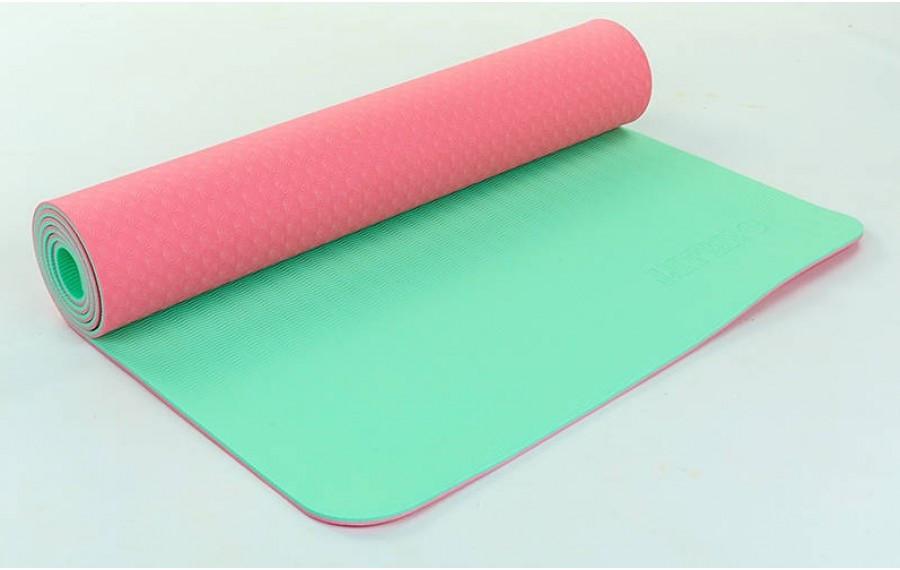 Коврик для фитнеса Yoga mat 2-х слойный розовый-мятный TPE+TC 6 мм