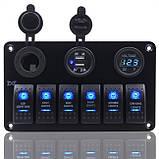 Панель перемикання на 6 кнопок з вольметром, USB і прикурювачем, фото 2