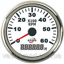 Тахометр с моточасами ecms 85мм белый