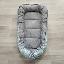 Детский кокон позиционер для новорожденных мятный, фото 3