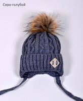 Зимняя шапка с помпоном на мальчика, фото 1