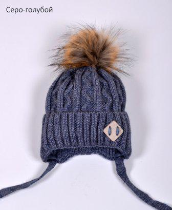 Зимняя шапка с помпоном на мальчика
