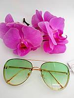 Имидиджевые солнцезащитные очки капельки авиаторы зеленые прозрачные (044), фото 1
