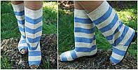 Модные льняные полосатые серо-голубые стильные женские тканевые сапожки с открытым носком. Арт-0156, фото 1