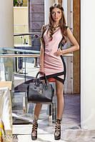 Женское короткое летнее платье с эффектом запаха без рукавов глубоким вырезом декольте микродайвинг, фото 1